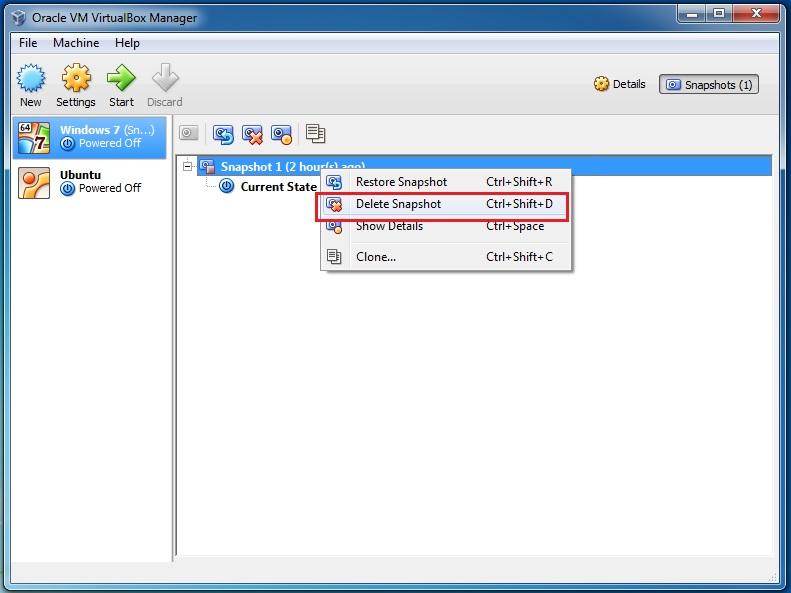 delete a snapshot in virtualbox
