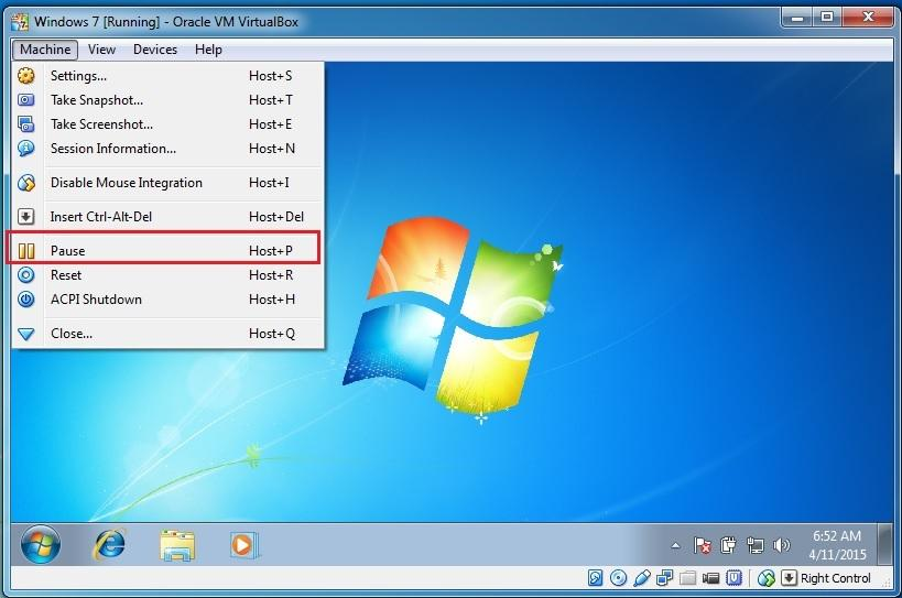 Pause oracle vm virtual machine