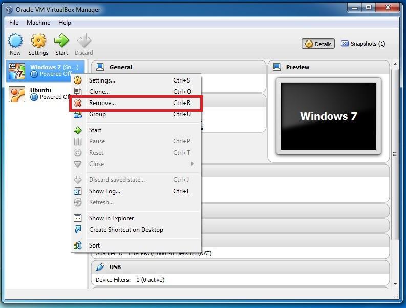 removing a virtual machine in oracle virtualbox
