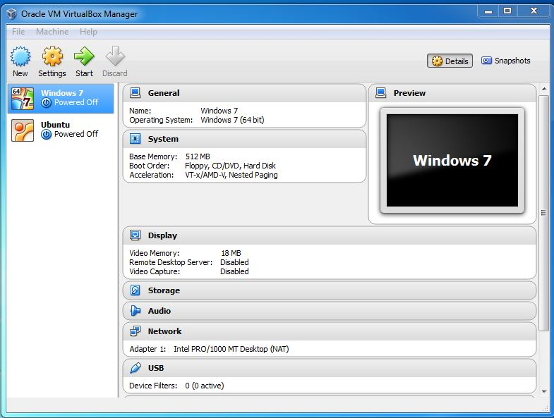 start oracle virtual machine from vitualbox manager gui