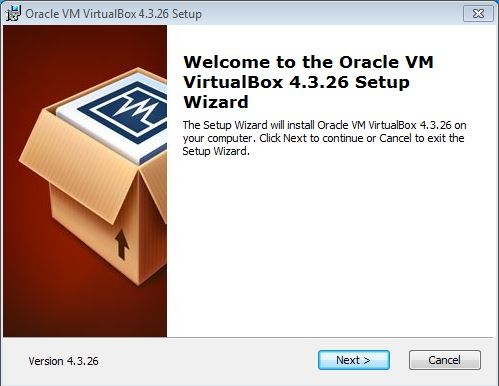 VirtualBox setup wizard
