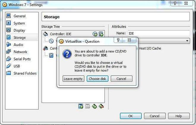 Add cd-rom in virtualbox
