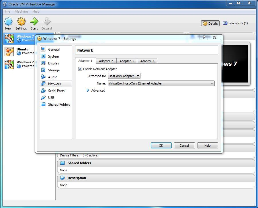 VirtualBox host only network