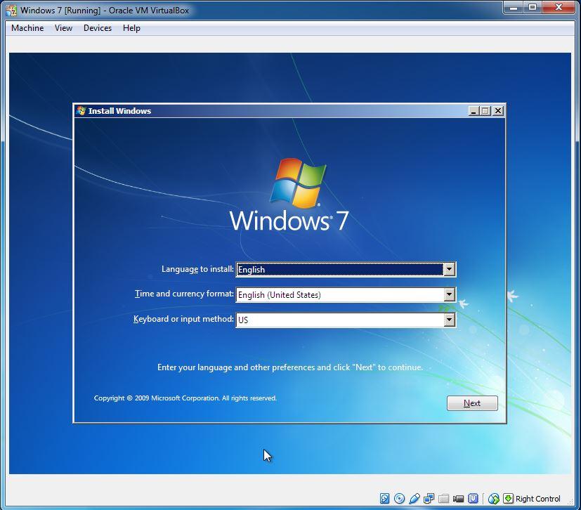install windows 7 in virtualbox
