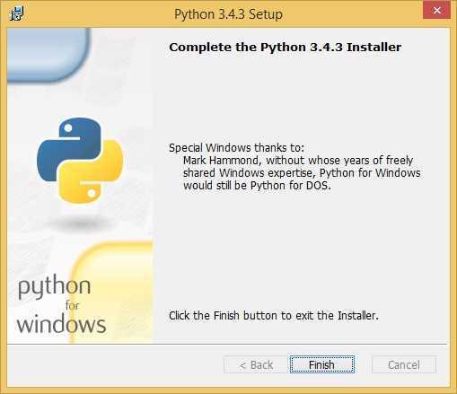 install python finish