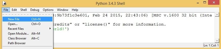 python idle new file