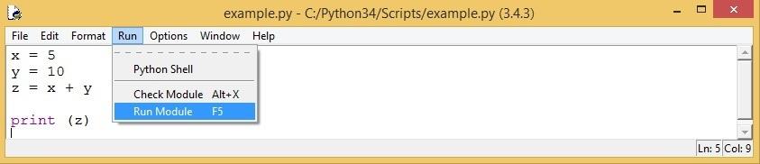 run python code idle