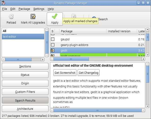 raspbian apply changes synaptic