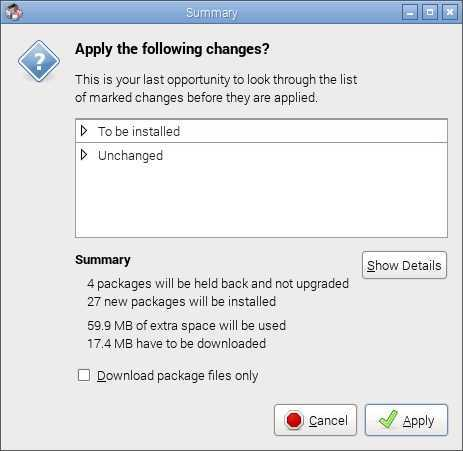 raspbian apply confirm changes synaptic
