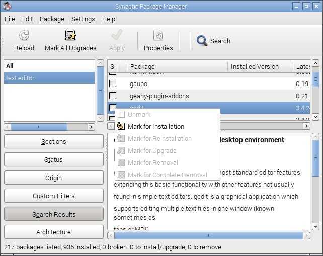 raspbian install application synaptic