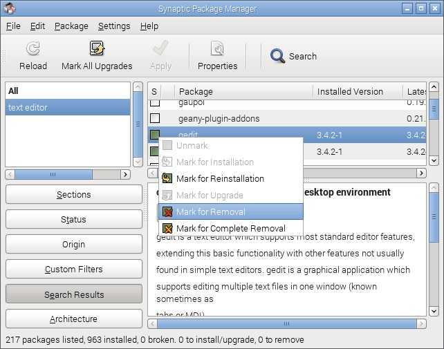 raspbian remove application synaptic
