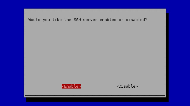 raspbian ssh server enabled
