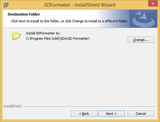 sd formatter install location