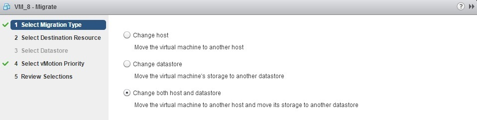 change both host and datastore