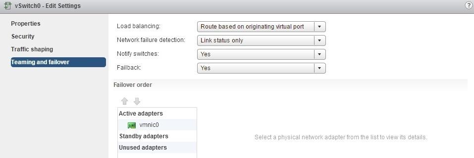 configure network failure options