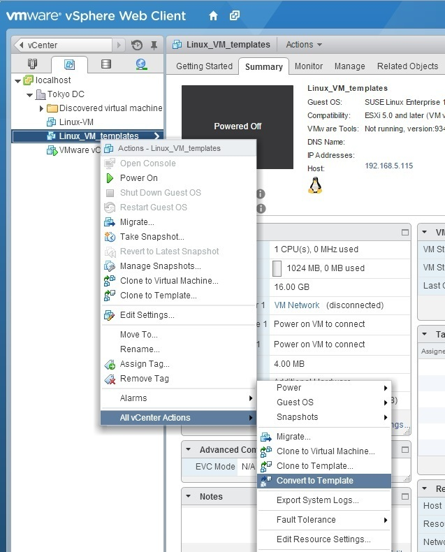 Update virtual machine template | VMware ESXi