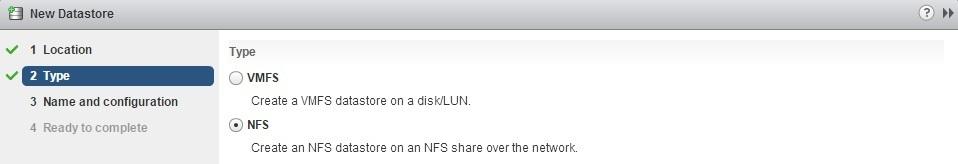 create a new datastore nfs
