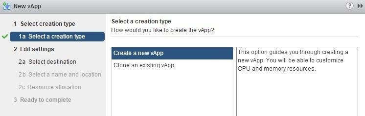 create a new vapp