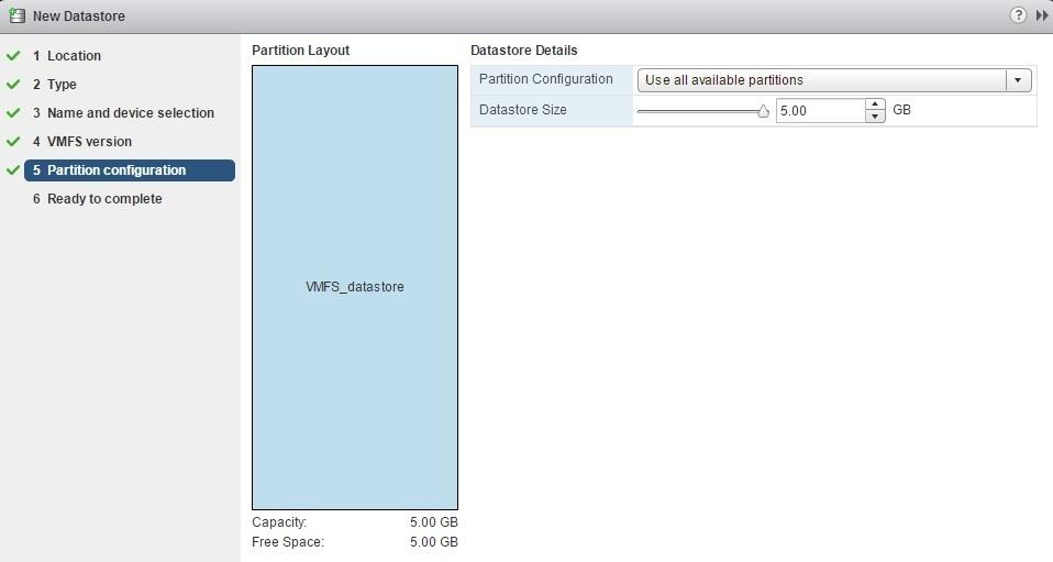 create new datastore size