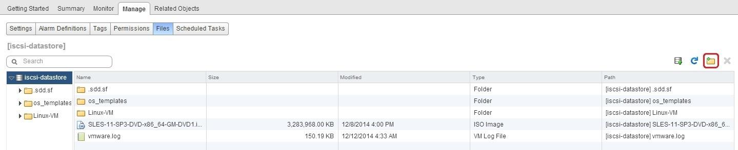 create new folder datastore