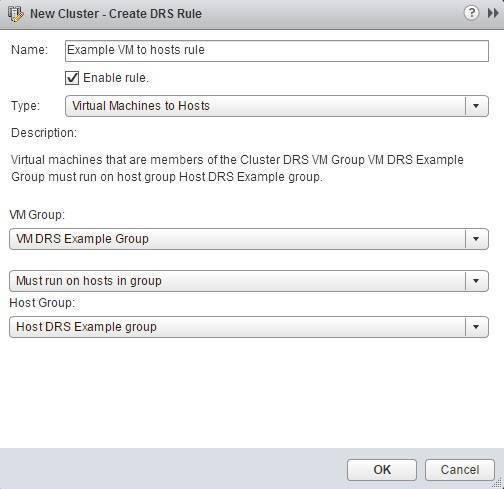create VM to host rule