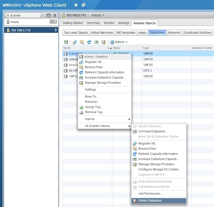 Delete VMFS datastore | VMware ESXi
