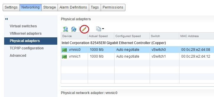 Configure speed and duplex | VMware ESXi