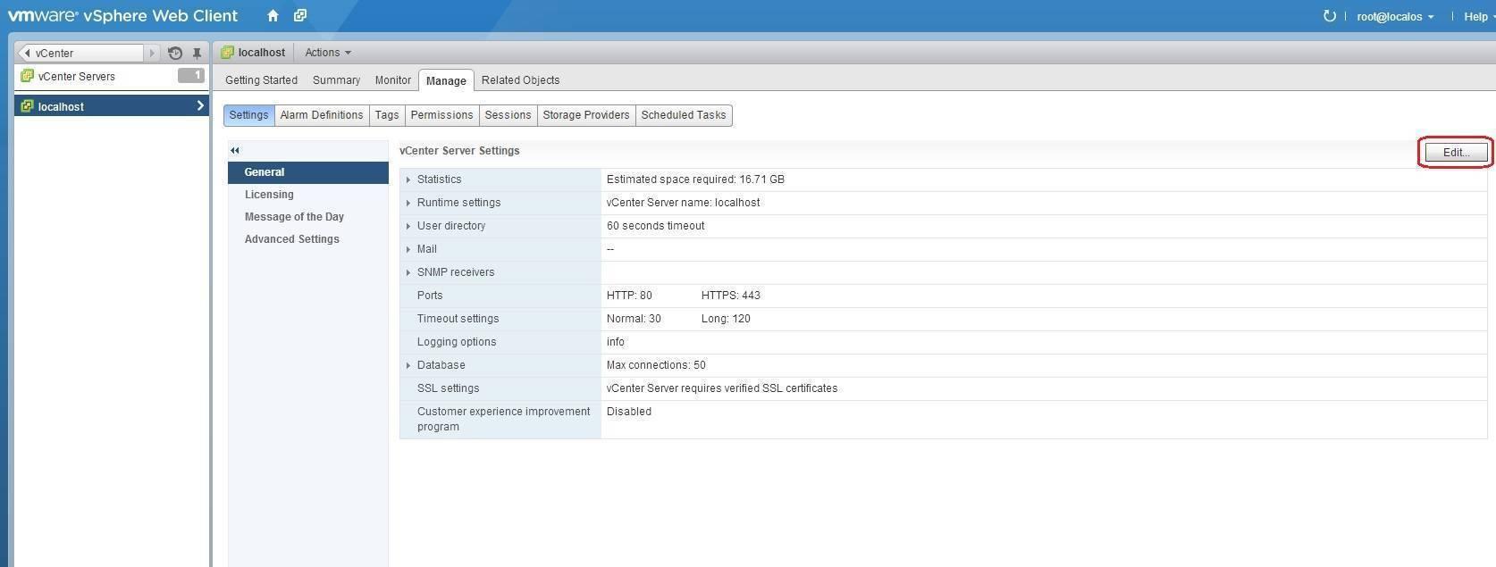 edit vcenter server