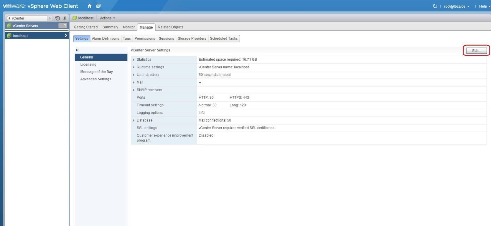 edit vcenter server settings