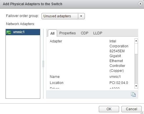 esxi add networking add unused adapter