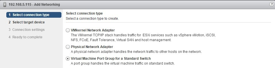 esxi add networking connection type