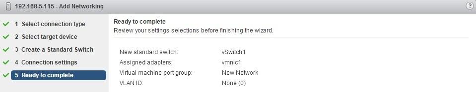 esxi add networking finish