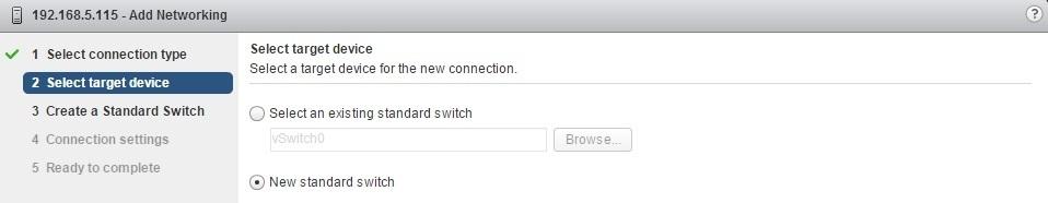 esxi add networking new standard switch