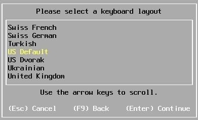 esxi installation keyboard layout
