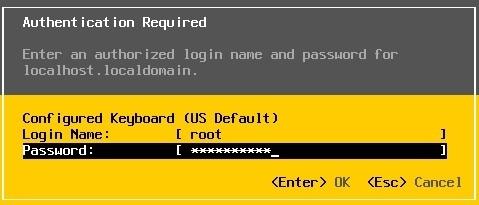 esxi root password