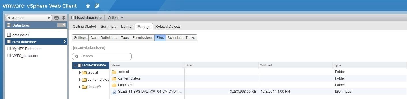 manage files datastore