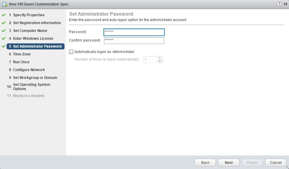 new customization specification password