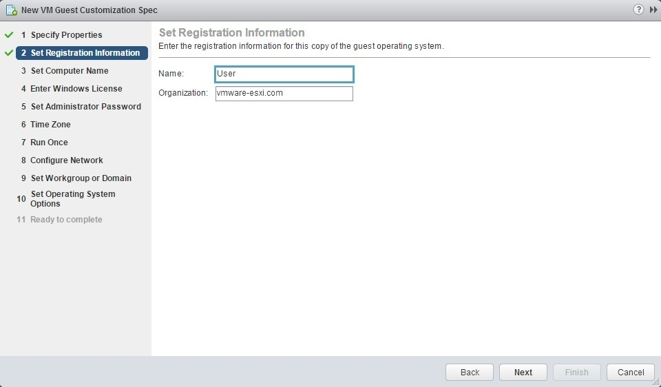 Customize guest OS | VMware ESXi