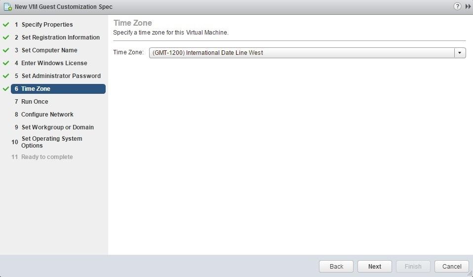 new customization specification timezone
