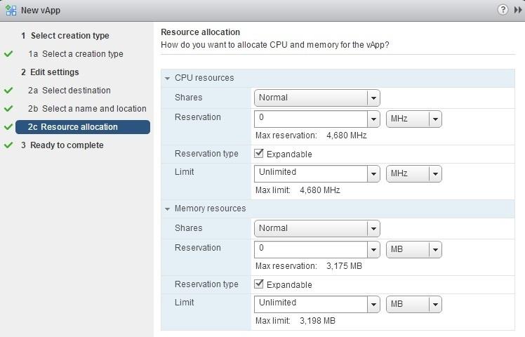 new vapp resource allocation