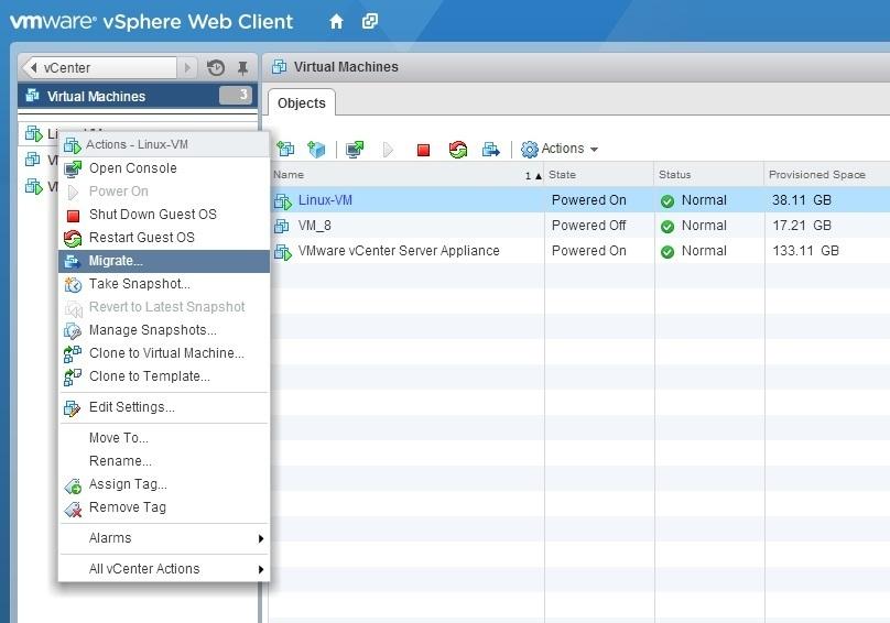 Use vSphere vMotion | VMware ESXi