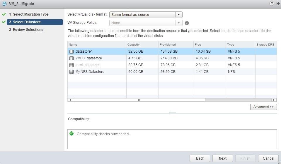 storage vmotion destination datastore
