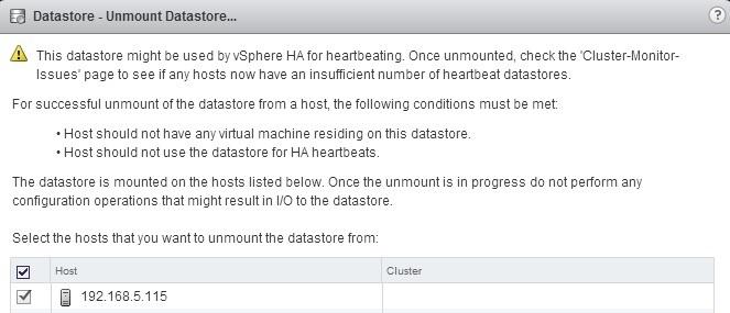 unmount datastore select hosts
