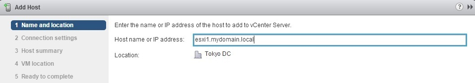 vcenter server add host name