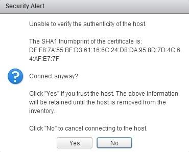 vcenter server add host sha fingerprint