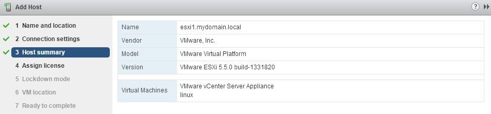 vcenter server add host summary