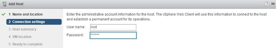 vcenter server add host username