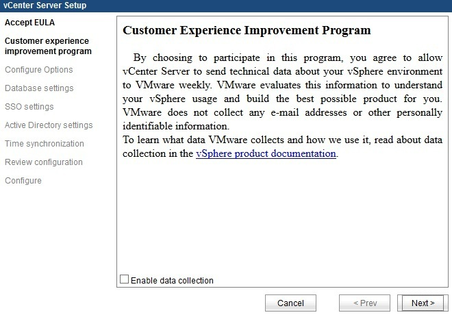 vcenter server appliance data collection
