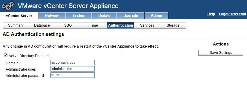 vcenter server appliance management enable directory services