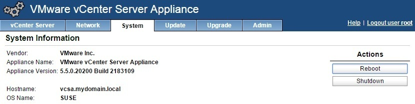 vcenter server appliance reboot